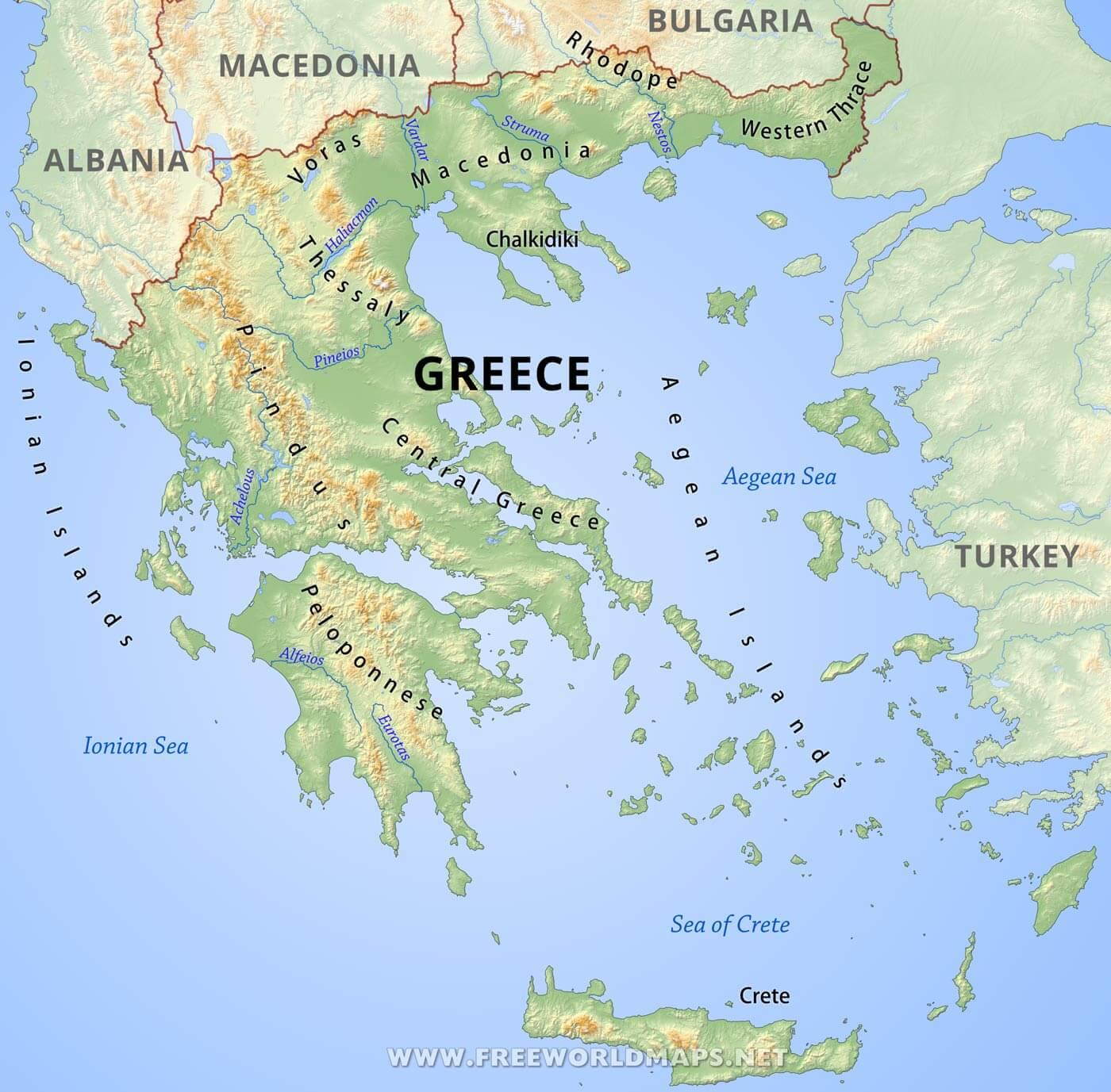 Planinite Na Grciya Karta Na Grciya Ot Planinite Na Yuzhna Evropa